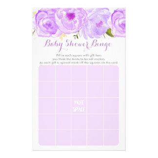 Flyer Jogo floral roxo do Bingo do chá de fraldas