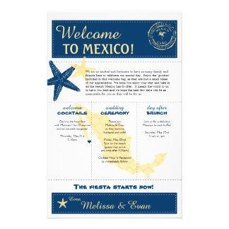 Flyer Letra amarela azul da boa vinda do casamento de