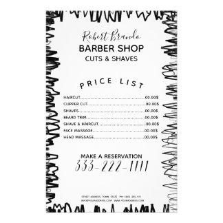 Flyer Linha tabela de preços preta & branca da beira do