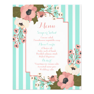 Flyer Listras azuis da hortelã floral cor-de-rosa do