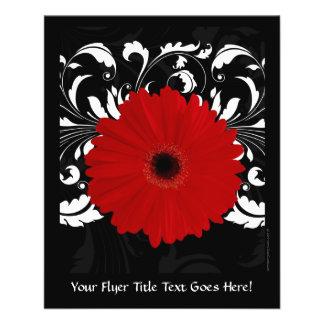 Flyer Margarida vermelha brilhante do Gerbera no preto