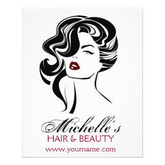Flyer Menina bonita com ícone da composição do cabelo