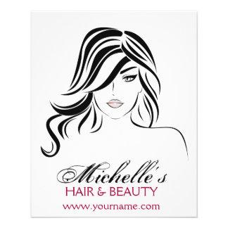 Flyer Menina bonita com ícone do cabelo ondulado e da