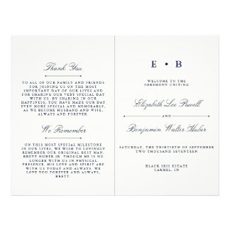 Flyer Modelo elegante do programa do casamento dos azuis