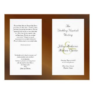 Flyer Modelo Wedding dobrado católico do programa da noz
