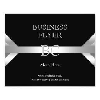 Flyer Monograma branco preto de prata simples liso 4D