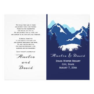 Flyer Montanhas azuis e programa wedding dobrado conifes