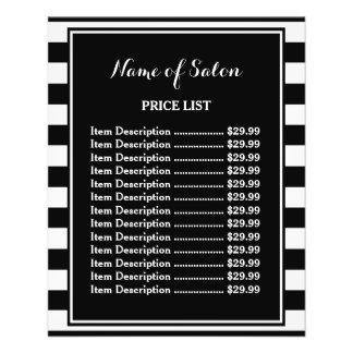 Flyer O branco preto na moda listra a tabela de preços