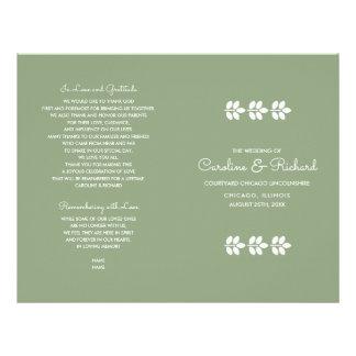 Flyer O design branco da folha do verde | dobrou