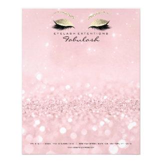 Flyer O estúdio da beleza chicoteia o rosa do ouro do