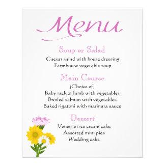 Flyer O girassol roxo do menu, margarida floresce floral