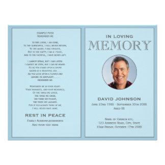Flyer Ordem azul Pastel da foto de programa do funeral