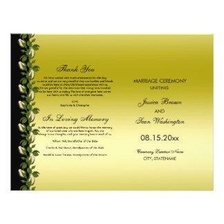 Flyer Ouro romântico floral chique & programa preto do