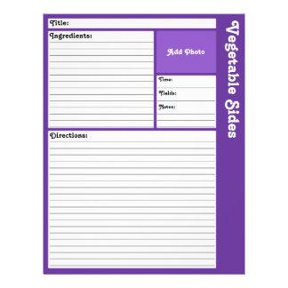 Flyer Páginas alinhadas da receita (violeta escura)