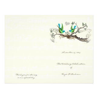 Flyer Pássaros do vintage azuis & programa verde do