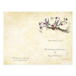 Flyer Pássaros fúcsia do vintage & programa do casamento