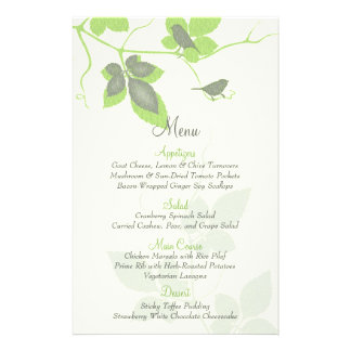 Flyer Pássaros verdes e folhas cinzentos que Wedding o