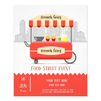Flyer Petisco das batatas fritas da rua da comida