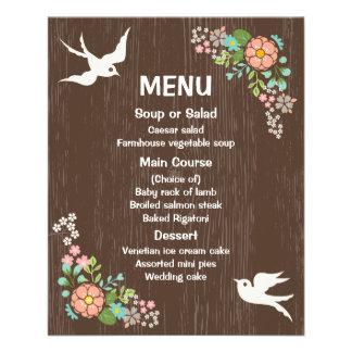 Flyer Pombas de madeira florais do casamento de Brown do