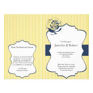 Flyer Programa amarelo azul moderno do casamento da