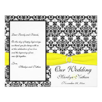 Flyer Programa amarelo e preto do casamento tema damasco