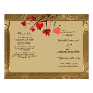 Flyer Programa bonito do casamento tema damasco do ouro