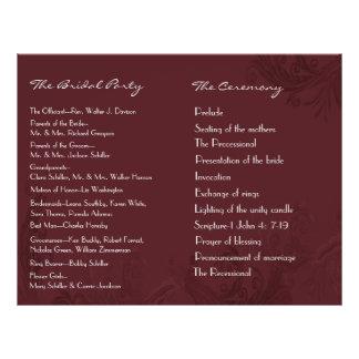 Flyer Programa chique do casamento do Flourish de