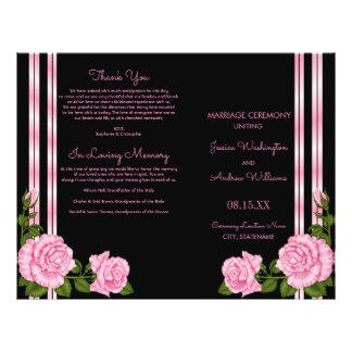 Flyer Programa cor-de-rosa do casamento do buquê do
