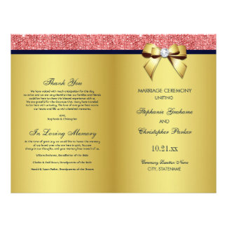 Flyer Programa coral do casamento do arco dos Sequins do