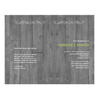 Flyer Programa de madeira do casamento do celeiro