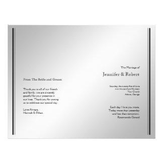Flyer Programa de prata do casamento da elegância