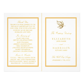 Flyer Programa do casamento da borboleta do brilho do