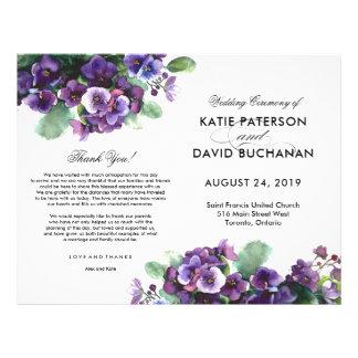 Flyer Programa do casamento da flor da viola da aguarela