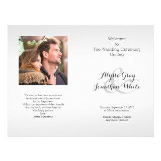 Flyer Programa do casamento da foto das cinzas de prata