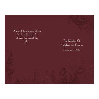 Flyer Programa do casamento do Flourish de Borgonha
