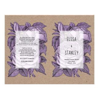 Flyer Programa dobrado dos rosas casamento vintage roxo