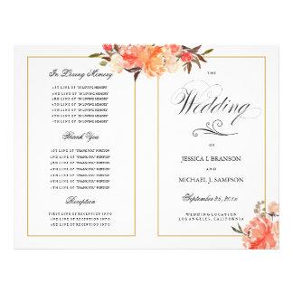 Flyer Programa elegante do casamento outono do toque do