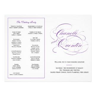 Flyer Programa feito sob encomenda do casamento - roxo