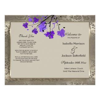 Flyer Programa floral & antigo roxo do casamento de