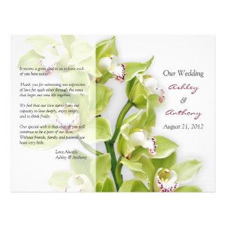 Flyer Programa floral do casamento da orquídea verde do