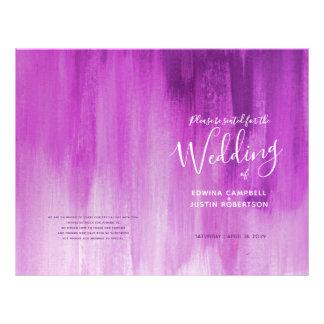 Flyer Programa roxo cor-de-rosa do casamento da arte