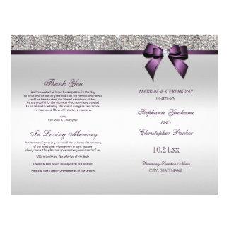 Flyer Programa roxo da cerimónia de casamento dos