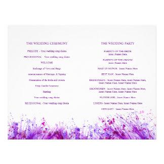 Flyer Programa roxo do casamento da grinalda do respingo