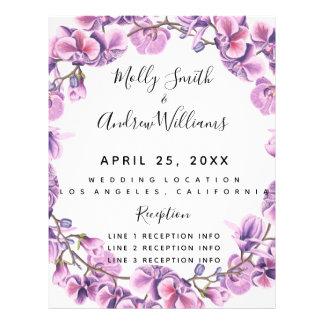 Flyer PROGRAMA roxo do casamento do verão do primavera
