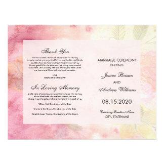 Flyer Programa sonhador romântico do casamento da flor