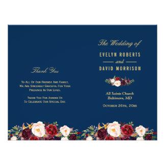 Flyer Programa Wedding dobrado de Borgonha azuis