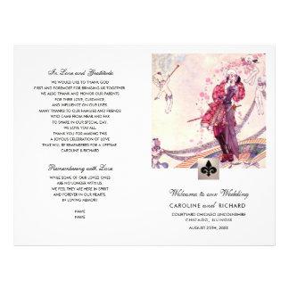 Flyer Programa Wedding dobrado do vintage arte romântica