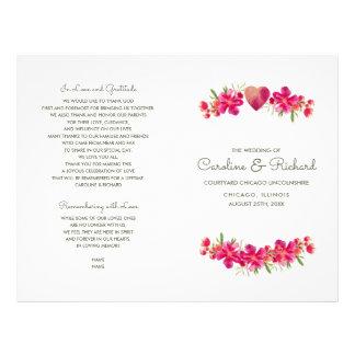 Flyer Programas florais românticos do casamento da
