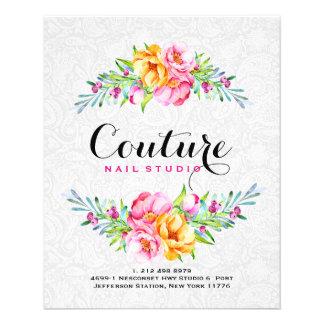 Flyer Quadro colorido do buquê floral das aguarelas