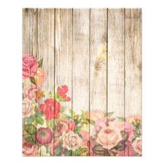 Flyer Rosas românticos rústicos do vintage de madeira